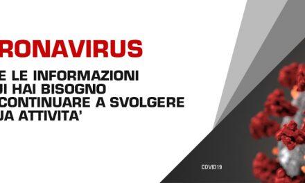 NUOVO CORONAVIRUS – INFORMAZIONI PER SVOLGERE LE ATTIVITA'