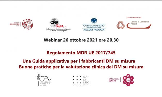 Webinar 26 ottobre 2021 ore 20.30 – MDR 745: Guida applicativa per i fabbricanti DM su misura
